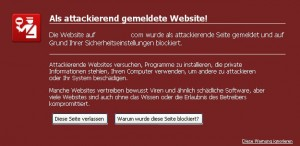 Als attackierend gemeldete Website.