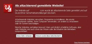 Als attackierend gemeldete Website.