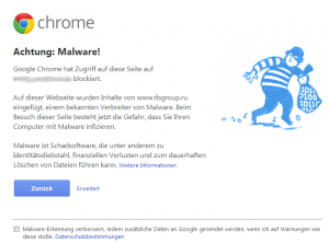 Malware Mahnung im Chrome